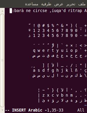 Edició d'un fitxer amb Vim emprant l'alfabet i el teclat àrabs