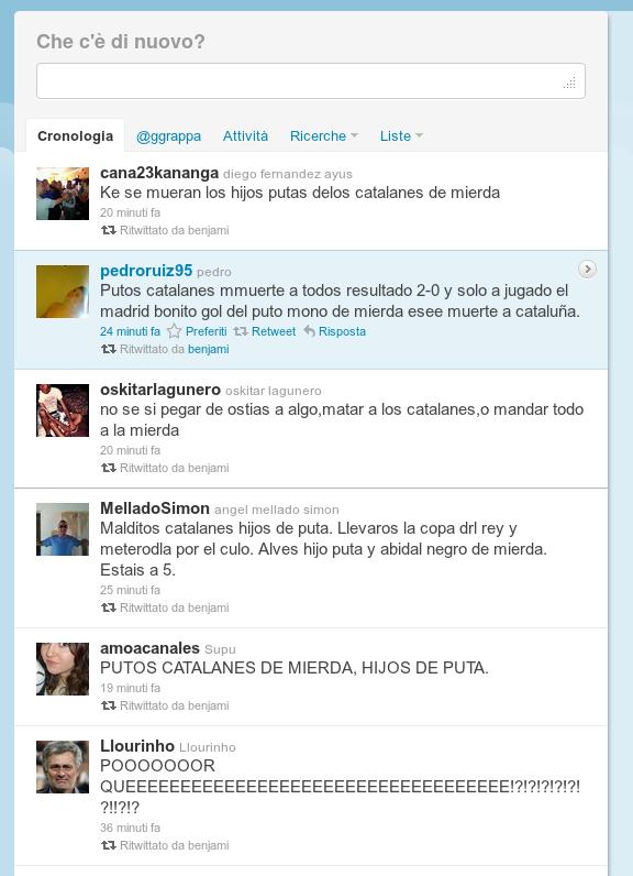 Twitter. Captura en acabar el Barça-Madrid, 25 de gener de 2012